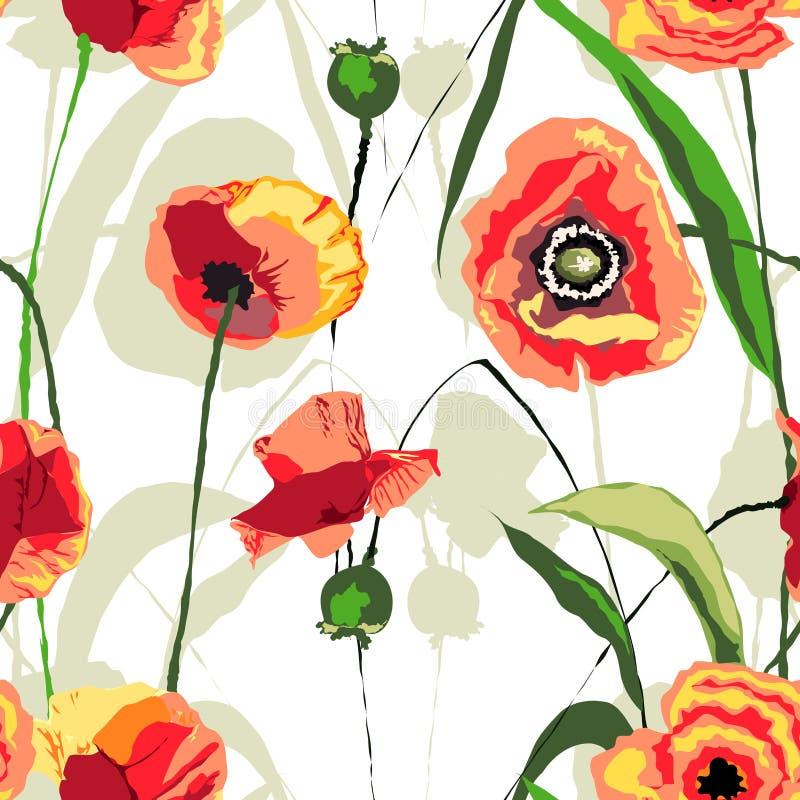 Het bloemen naadloze patroon van zonsondergangpapavers stock foto