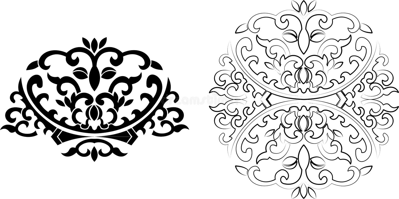 Het bloemen Ornament van Krommen. royalty-vrije illustratie