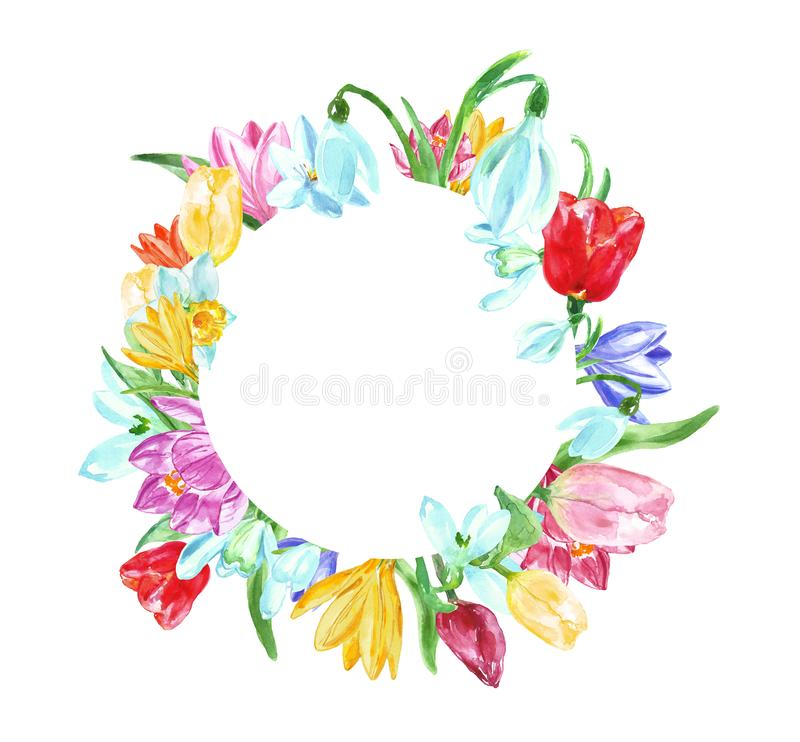 Het bloemen ronde kader van de waterverflente met gele, roze, blauwe en rode bloemen Hand geschilderde tulpen, gele narcissen, kr royalty-vrije illustratie