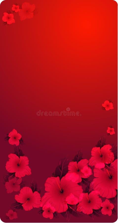 Het bloemen rood passioned achtergrond met bloemen royalty-vrije illustratie