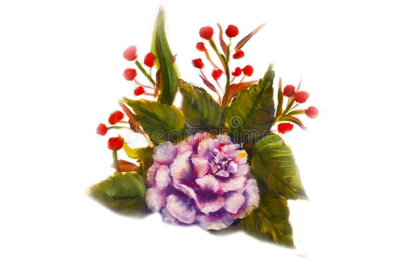 Het bloemen schilderen - spring roze, rode bloemen, groene bladeren op witte achtergrond op royalty-vrije stock fotografie