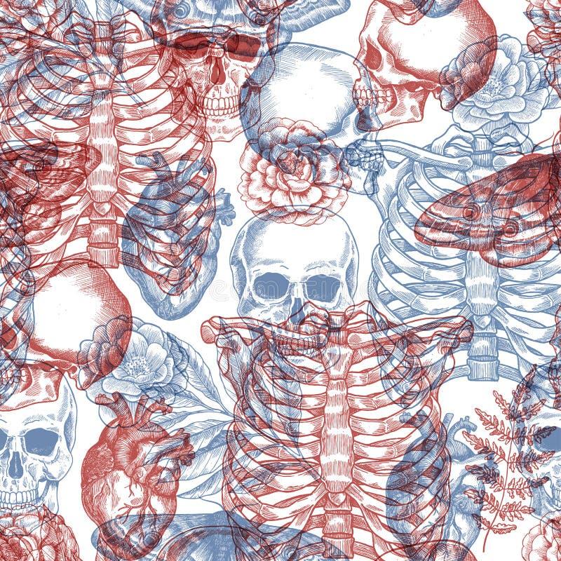 Het bloemen uitstekende naadloze patroon van Halloween Röntgenstraalachtergrond Menselijk skelet Vector illustratie stock illustratie