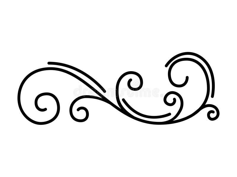 Het bloemenelement van het wervelingsontwerp Filigraan abstract patroon Decoratieve antieke krul Vector stock illustratie