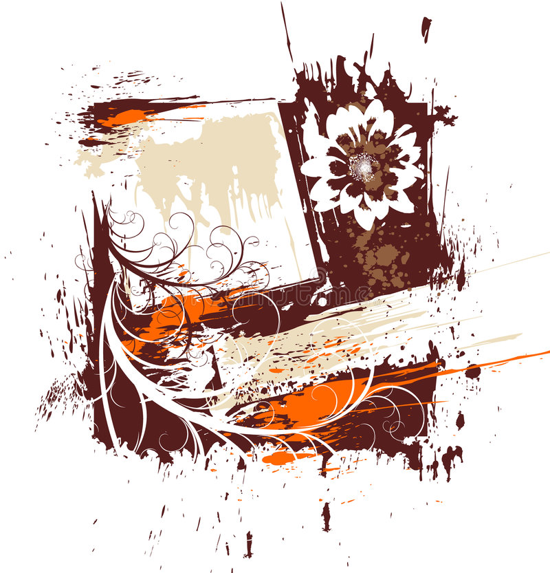 Het bloemenframe van Grunge royalty-vrije illustratie