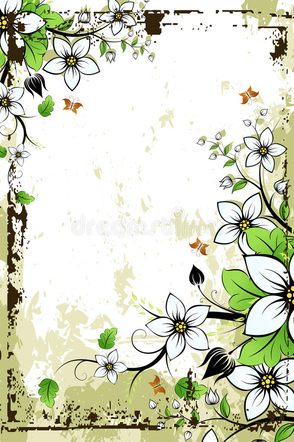 Het Bloemenframe van Grunge vector illustratie