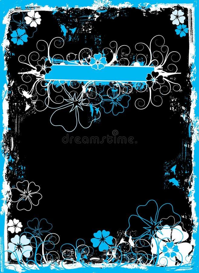 Het bloemenframe van Grunge, vector royalty-vrije illustratie