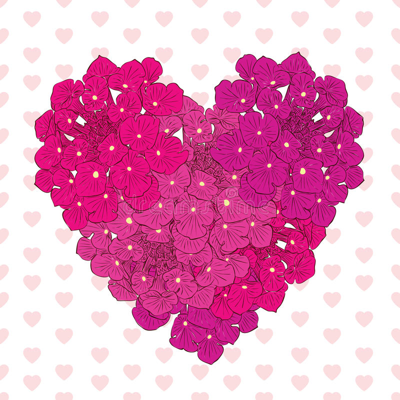 Het bloemenhart Roze bloemen Getrokken hand Ontwerp voor Valentine royalty-vrije illustratie
