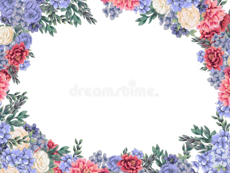 Het bloemenkader voor ontwerp bewaart de datumkaarten, de uitnodigingen, de affiches en verjaardagsdecoratie stock illustratie