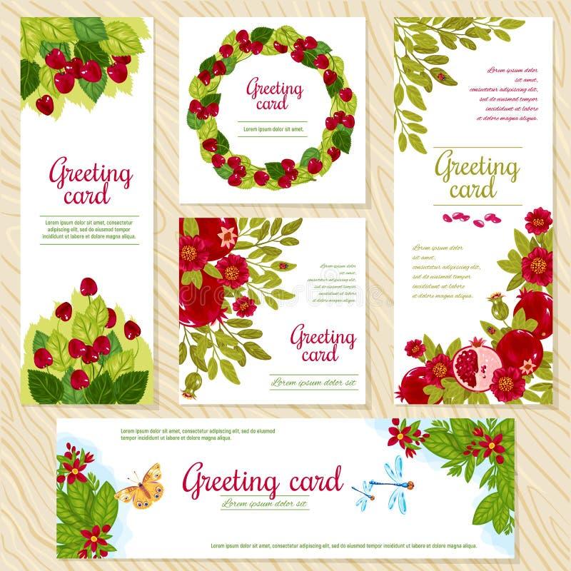 Het bloemenmalplaatje van de Groetkaart voor bloem winkelt of verjaardags de partijkaarten van het uitnodigingshuwelijk Vector mo vector illustratie