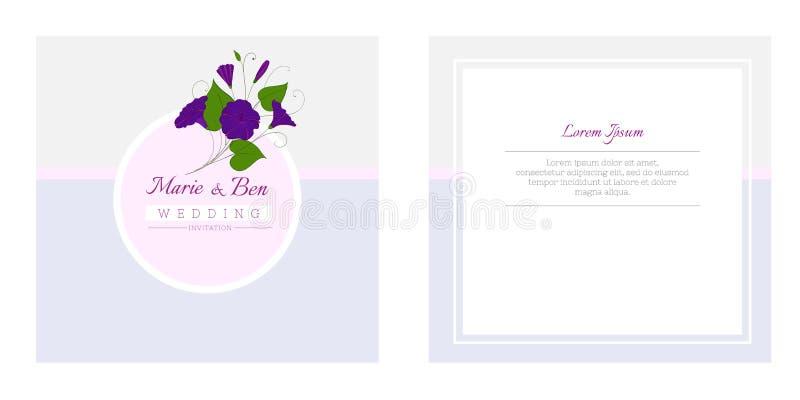 Het bloemenmalplaatje van de huwelijksuitnodiging Het elegante vrouwelijke ontwerp met bloemen binweed en winde stock illustratie