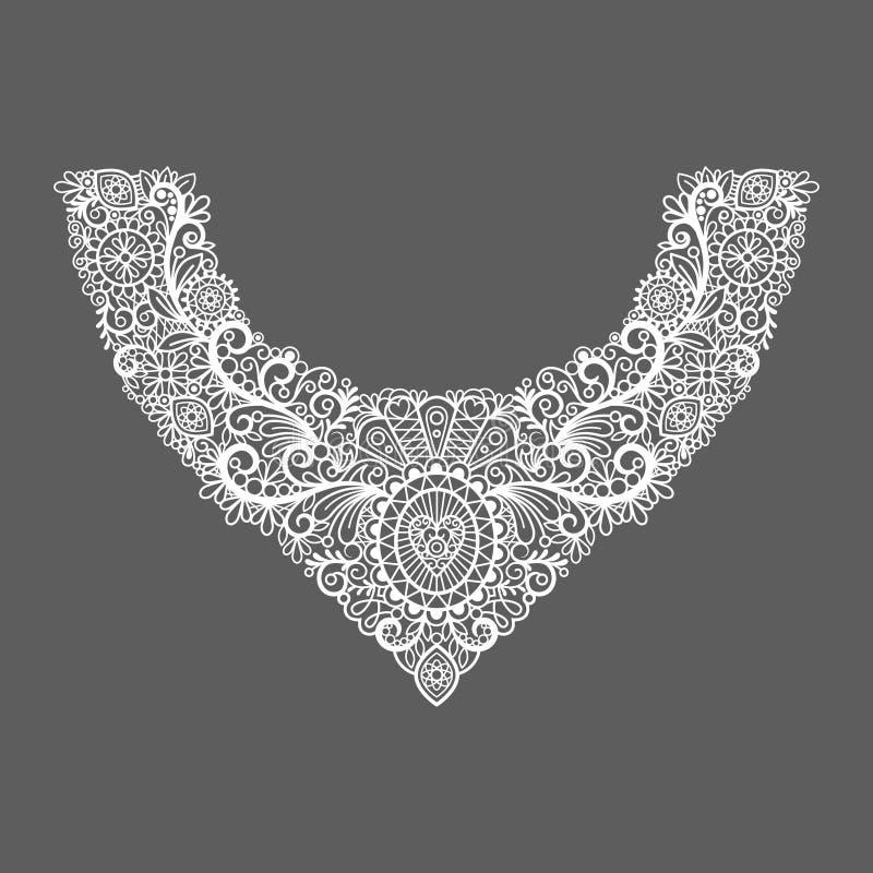 Het bloemenontwerp van de halsdruk stock illustratie