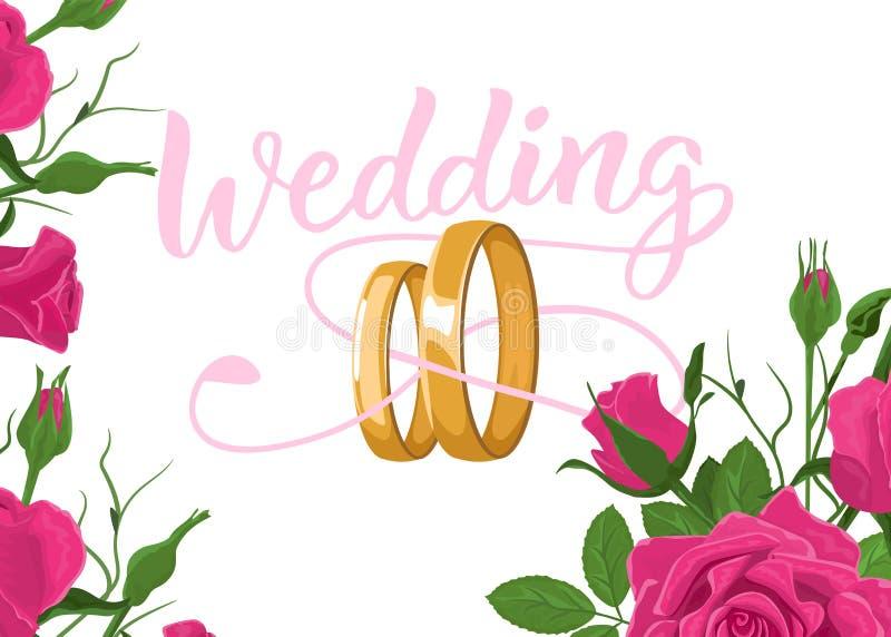 Het bloemenontwerp van het de kaartmalplaatje van de huwelijksuitnodiging, rode rozen bloeit en gaat met blauw kader op witte ach royalty-vrije illustratie