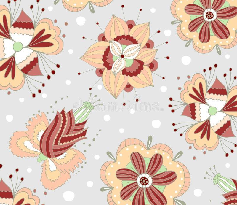 Het bloemenontwerp van de patroonstof royalty-vrije illustratie