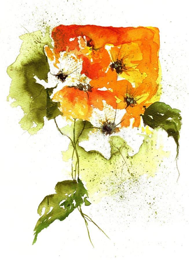 Het bloemenOntwerp van de waterverf royalty-vrije illustratie