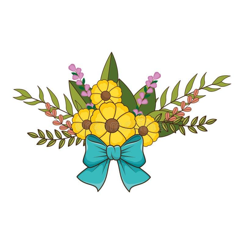Het bloemenontwerp van het bloemenboeket met bladeren en blauwe lintband royalty-vrije illustratie