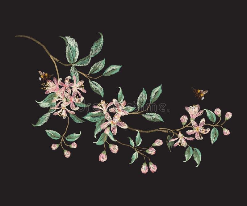 Het bloemenpatroon van de borduurwerktendens met tak van tropische Japanner royalty-vrije illustratie