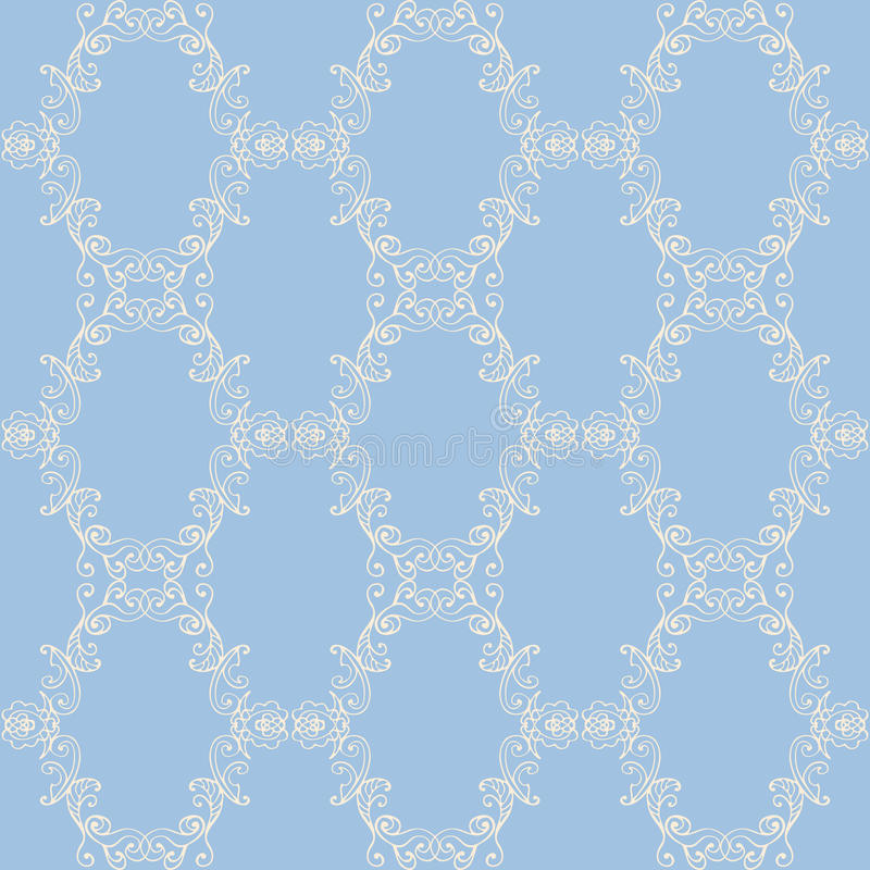 Het bloemenpatroon van het damast naadloze kant Uitstekend naadloos barok behang stock illustratie