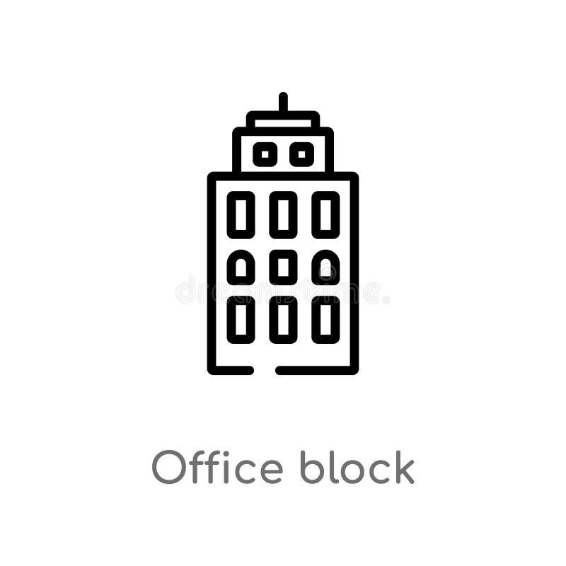 het blok vectorpictogram van het overzichtsbureau de geïsoleerde zwarte eenvoudige illustratie van het lijnelement van gebouwenco stock illustratie