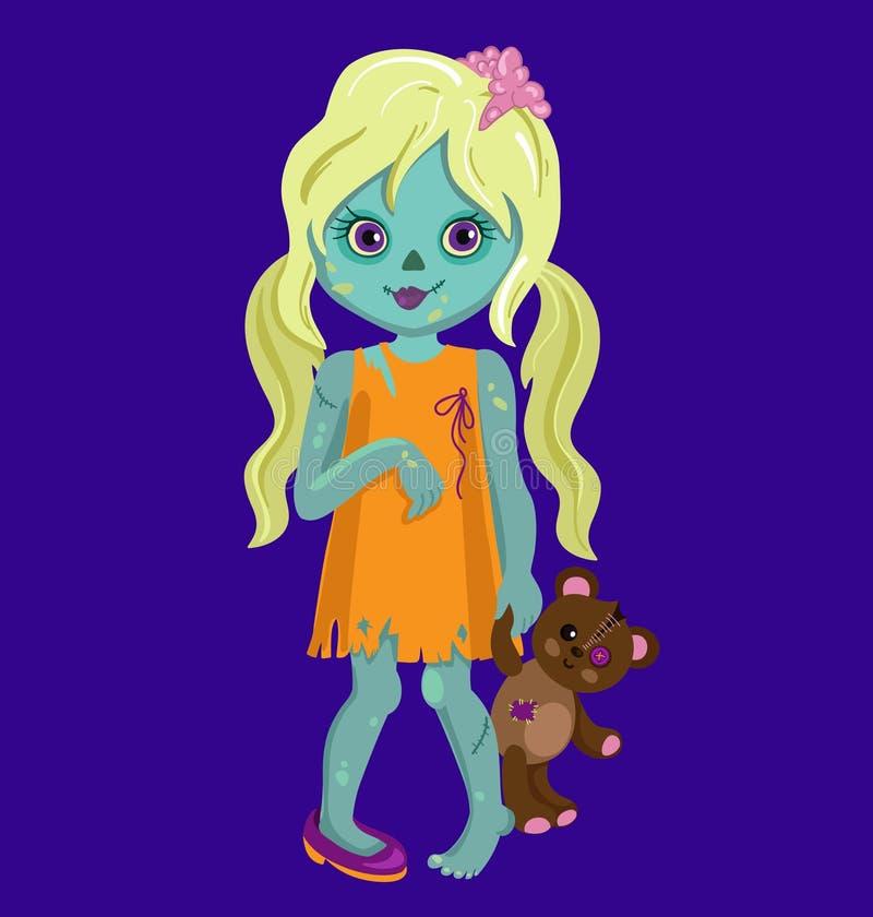 Het blonde meisje die van de haarzombie een teddybeer houden vector illustratie