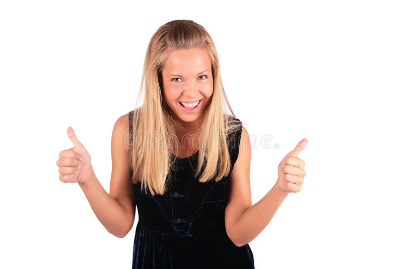 Het blonde meisje geeft gebaar beide handen royalty-vrije stock afbeelding