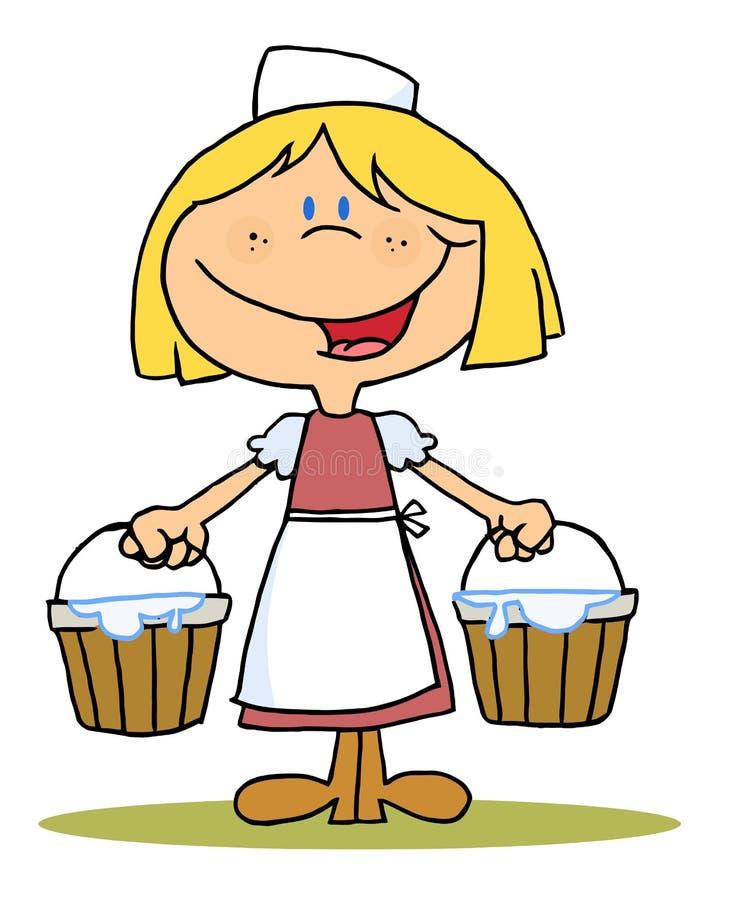 Het blonde meisje melken royalty-vrije illustratie