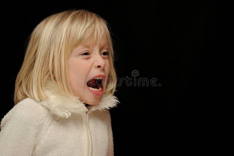 Het blonde meisje schreeuwen stock afbeeldingen