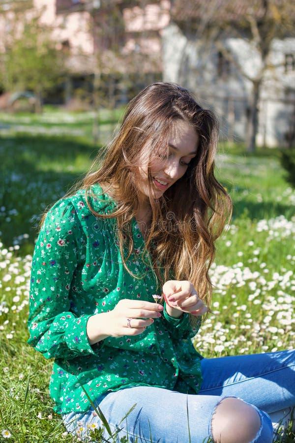 Het blonde meisje spelen met madeliefjesbloemblaadjes die in een weide zitten royalty-vrije stock afbeelding
