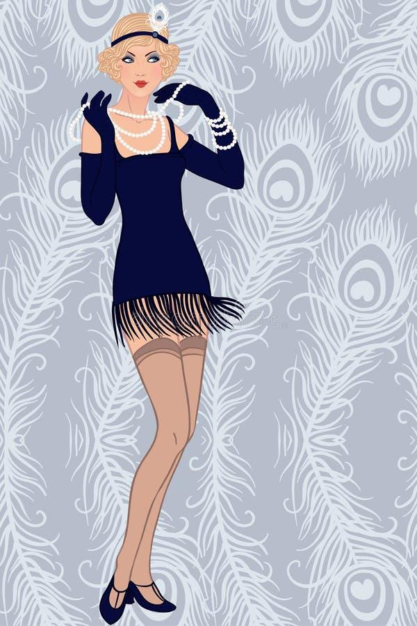 Het blonde meisje van de vin royalty-vrije illustratie