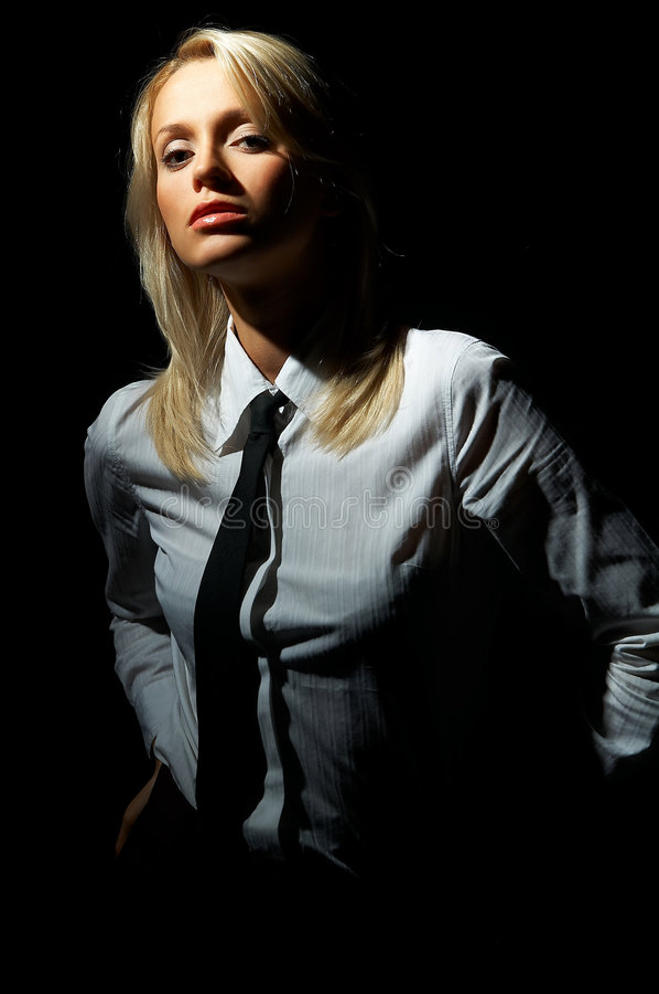Het blonde model stelt stock foto