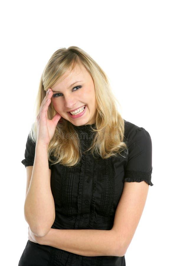 Het blonde onderneemster glimlachen geïsoleerd op wit stock afbeeldingen