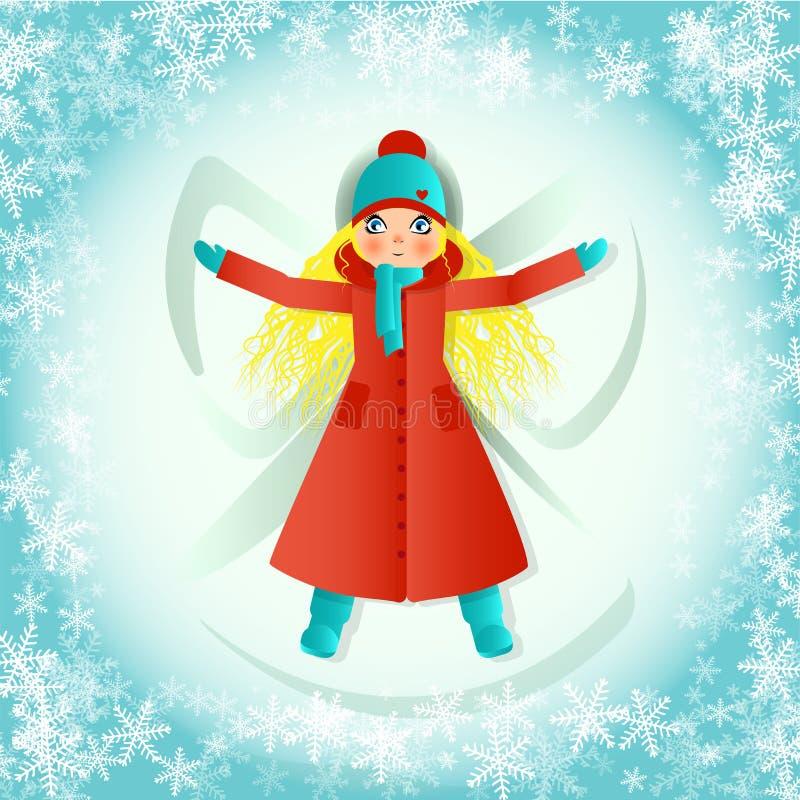 Het blonde tienermeisje met lang haar, in lange rode laag, maakt sneeuwengel liggend in sneeuw stock illustratie