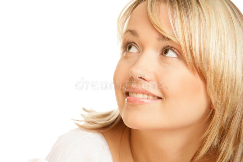 Het blonde vrouw glimlachen stock foto