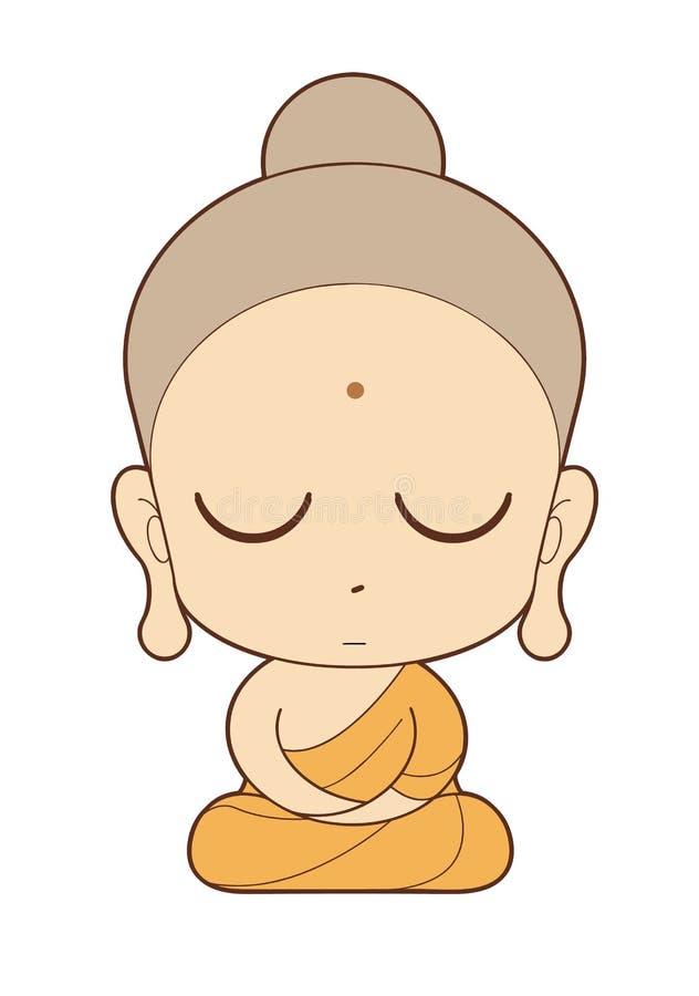 Het boeddhistische beeldverhaal van de Monnik stock illustratie