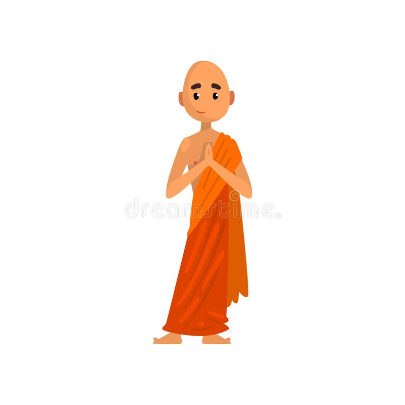 Het boeddhistische karakter die van het monniksbeeldverhaal in oranje robe vectorillustratie bidden op een witte achtergrond vector illustratie
