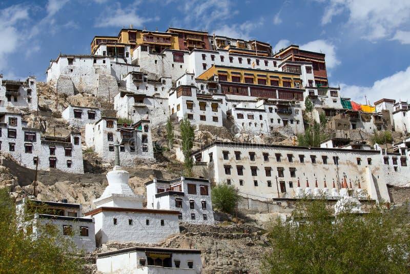 Het Boeddhistische klooster van het Tikseyklooster in Ladakh, India, stock afbeelding