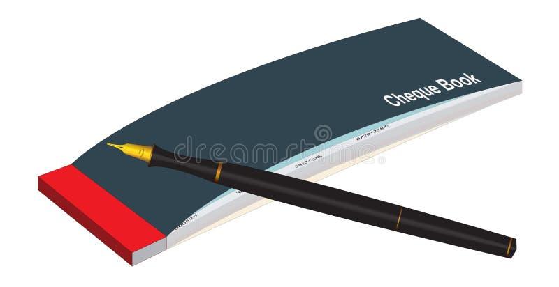 Het Boek & de Pen van de cheque stock illustratie