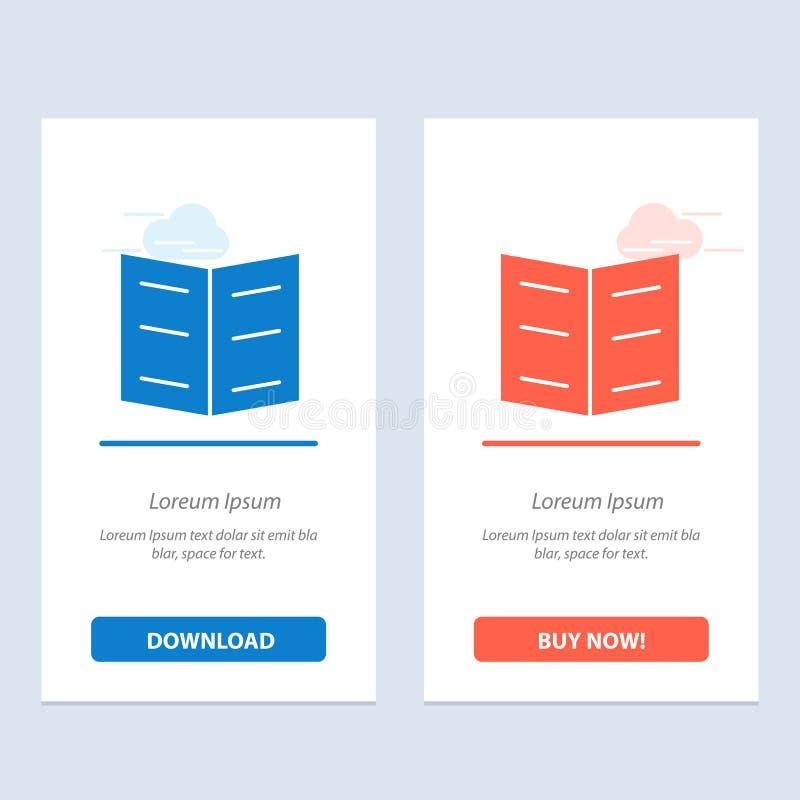 Het boek, de Referentie, de Onderwijs Blauwe en Rode Download en kopen nu de Kaartmalplaatje van Webwidget stock illustratie