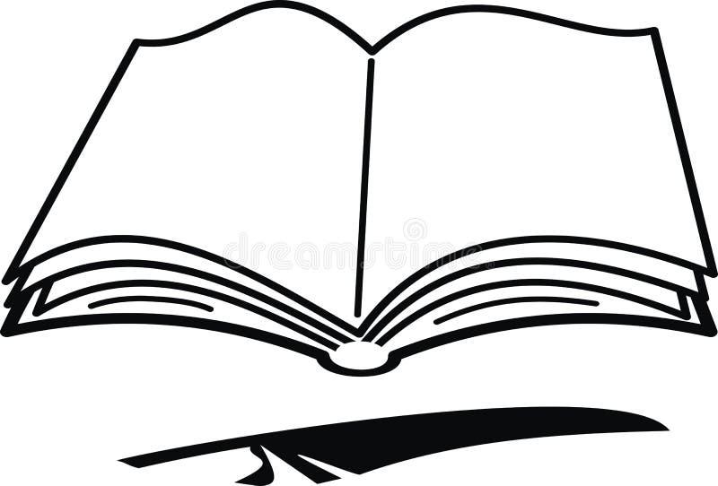 Het boek en de veer van het beeldverhaal stock illustratie