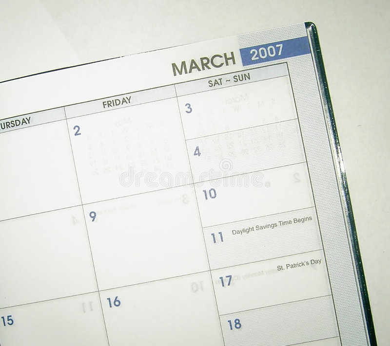Het boek Maart 2007 van de datum stock fotografie