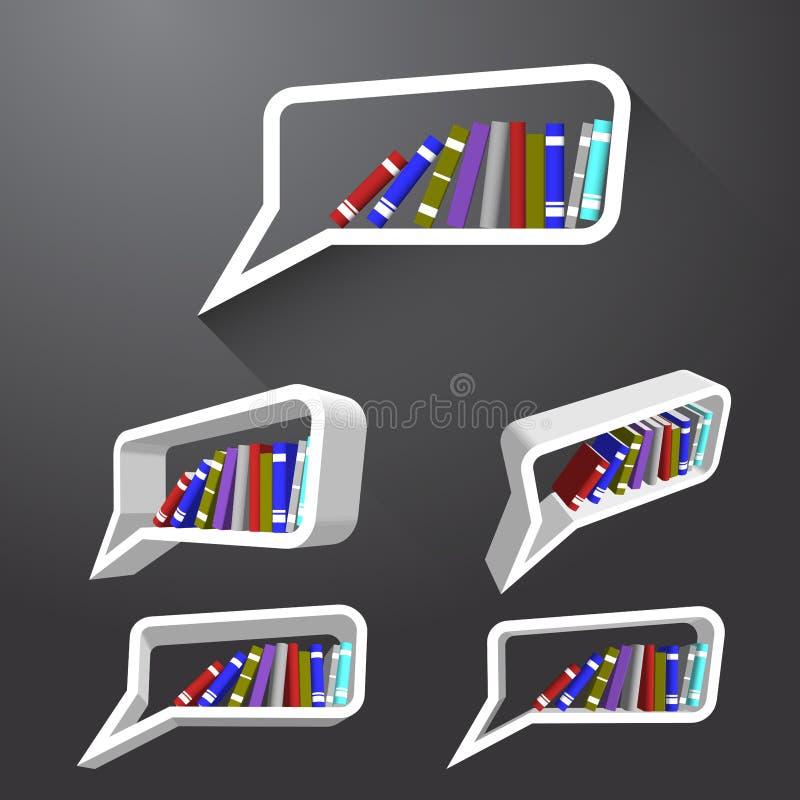 Het boek op bel denkt plank stock illustratie