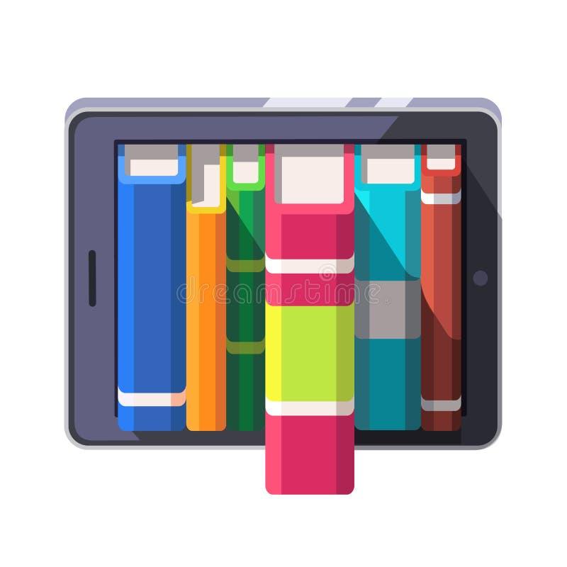 Het boek schort op een een tabletcomputer of e-lezer op stock illustratie