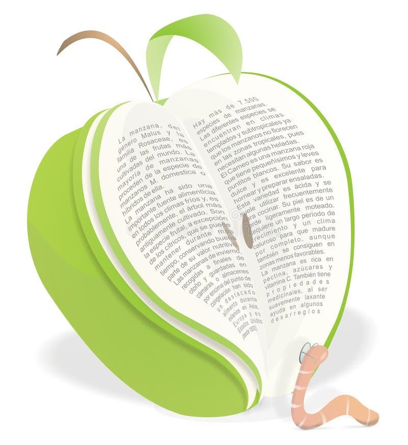 Het Boek van de Appel van de Lezing van de worm stock illustratie