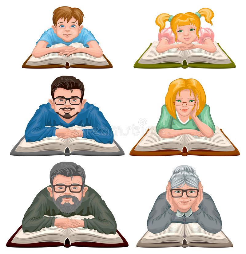 Het Boek van de familielezing Vastgestelde mensen die boek lezen royalty-vrije illustratie