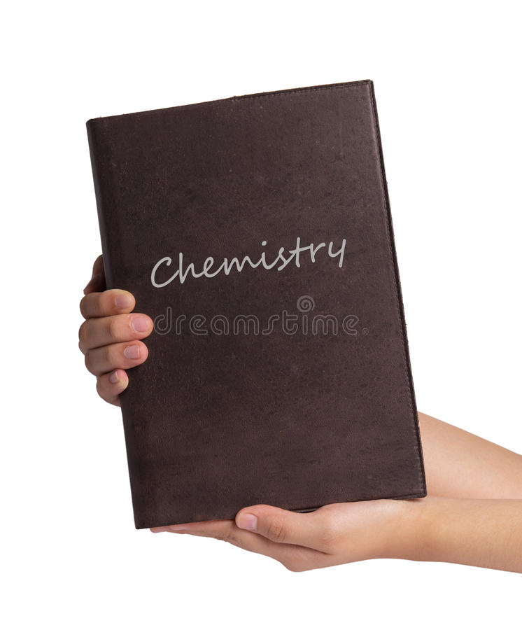 Het boek van de handholding op witte achtergrond wordt geïsoleerd die royalty-vrije stock afbeelding