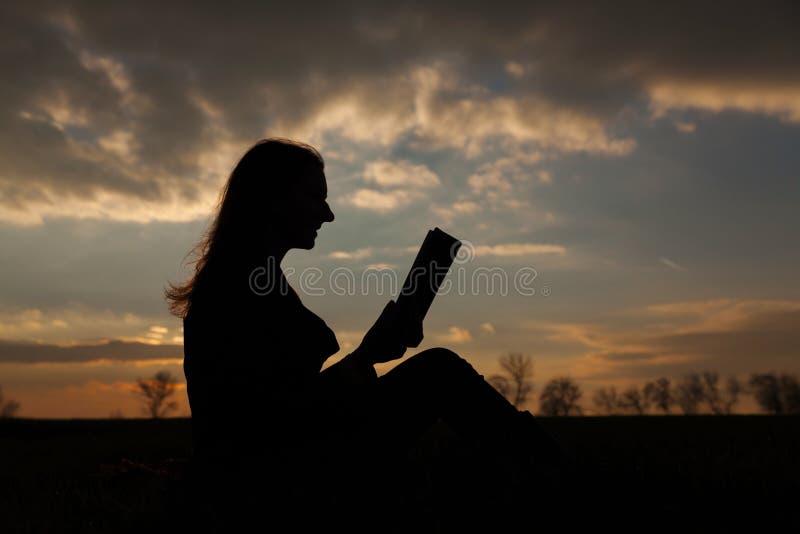 Het boek van de het meisjeslezing van de tiener in openlucht stock afbeelding