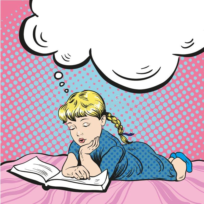 Het boek van de meisjelezing op een bed Vectorillustratie in grappige pop-artstijl royalty-vrije illustratie