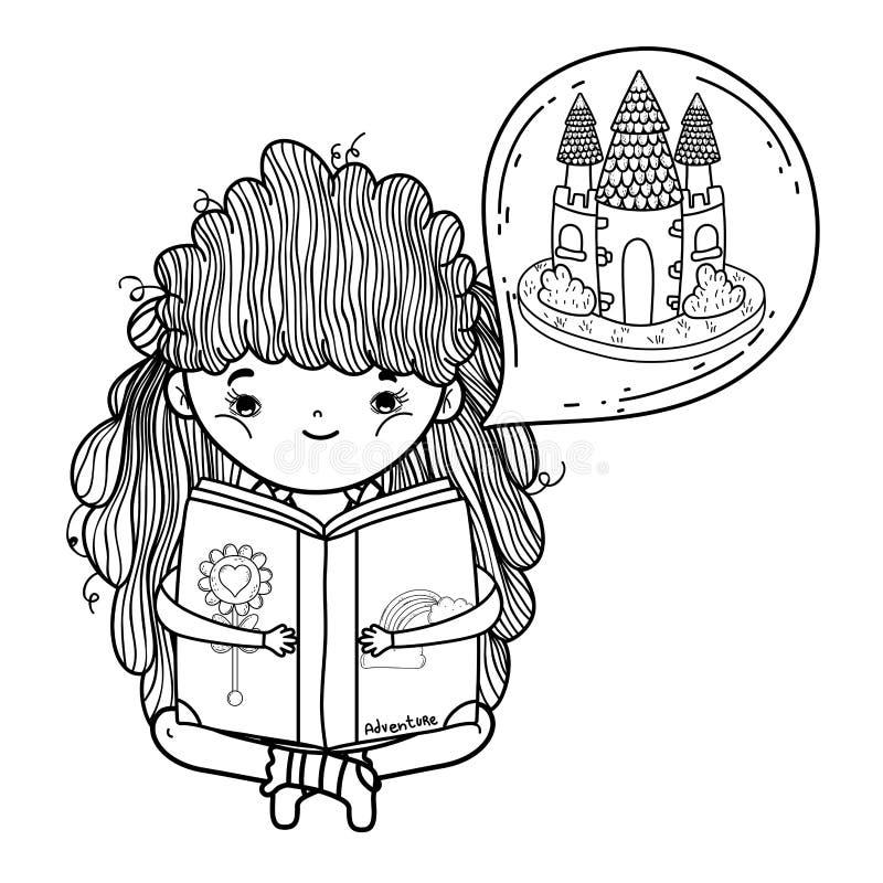 Het boek van de meisjeslezing met kasteel in droombel royalty-vrije illustratie