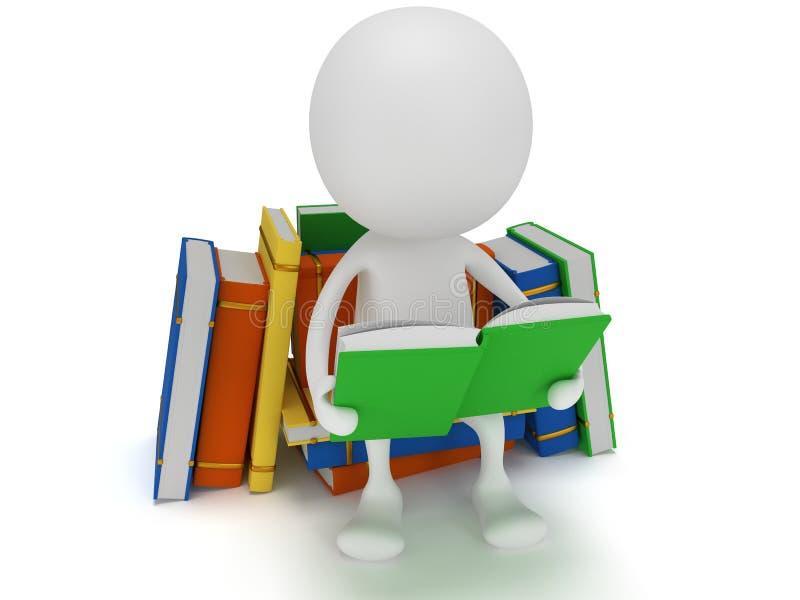 Het boek van de mensenlezing. 3d geef terug vector illustratie
