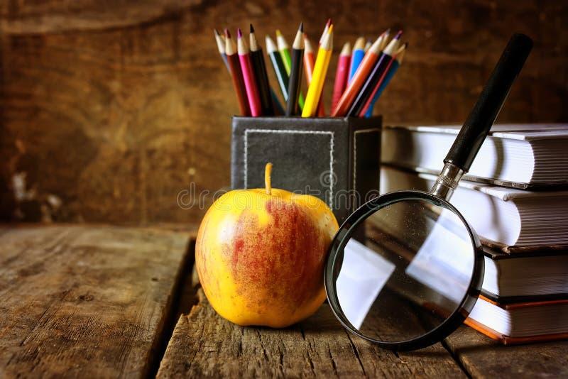 Het boek van het vergrootglasonderwijs stock foto's