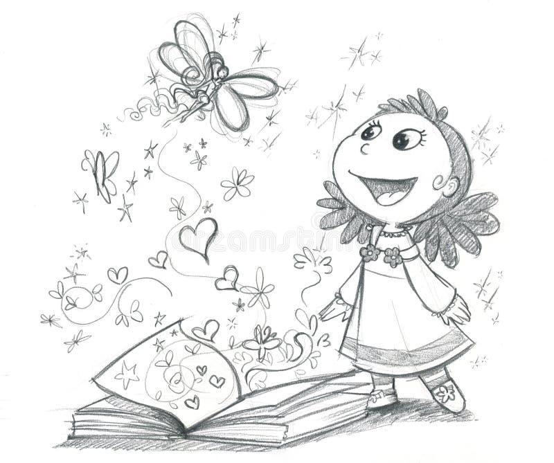 Het boekBW van sprookjes stock illustratie